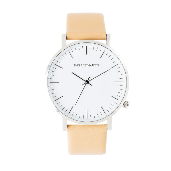 Classic – Silver / Light Tan Leather Timepiece