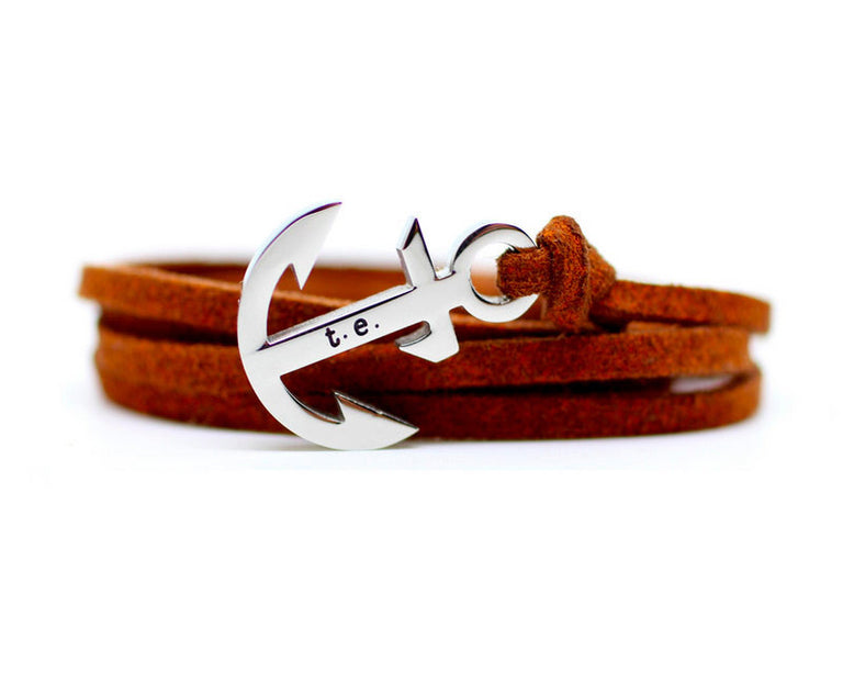 CHESTNUT LEATHER ANCHOR BRACELET