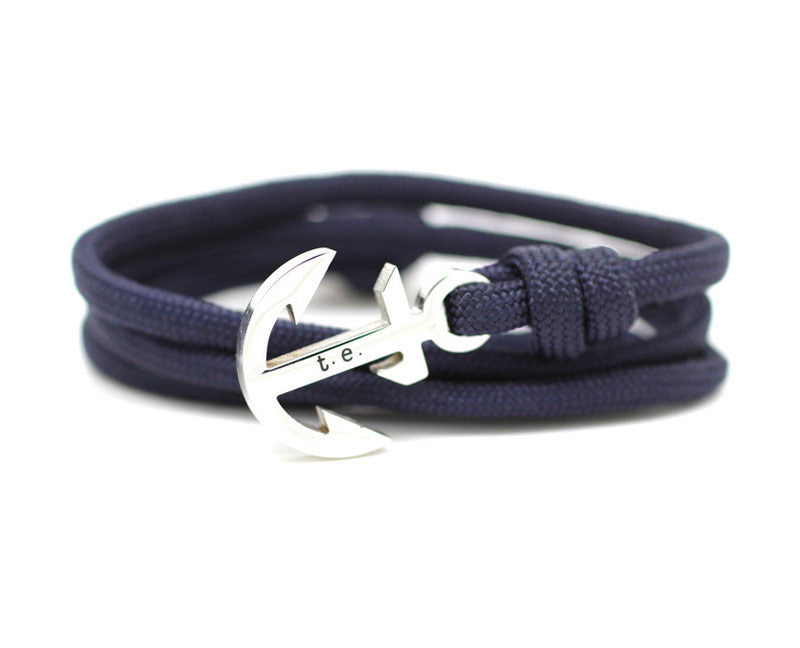 navy nautical bracelets products mens for fish bracelet leather hook gold