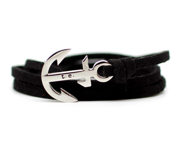 Noir Leather Anchor Bracelet