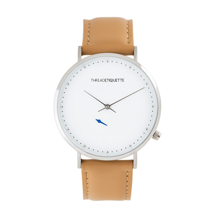 Chrono – Silver / Light Tan Leather Timepiece