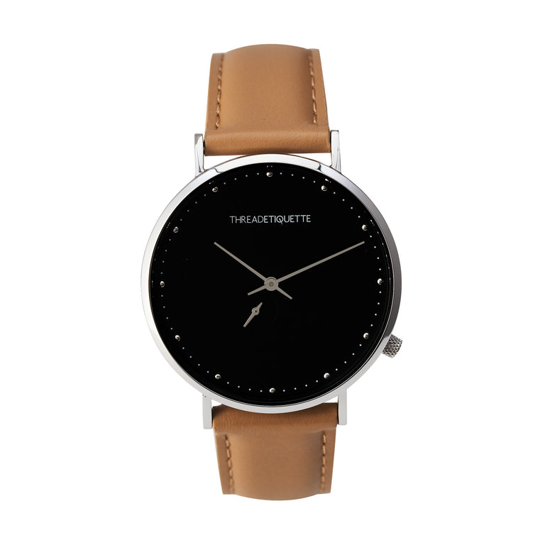 face watches classic light etiquette timepiece tagged black minimalistic thread collections matte brown