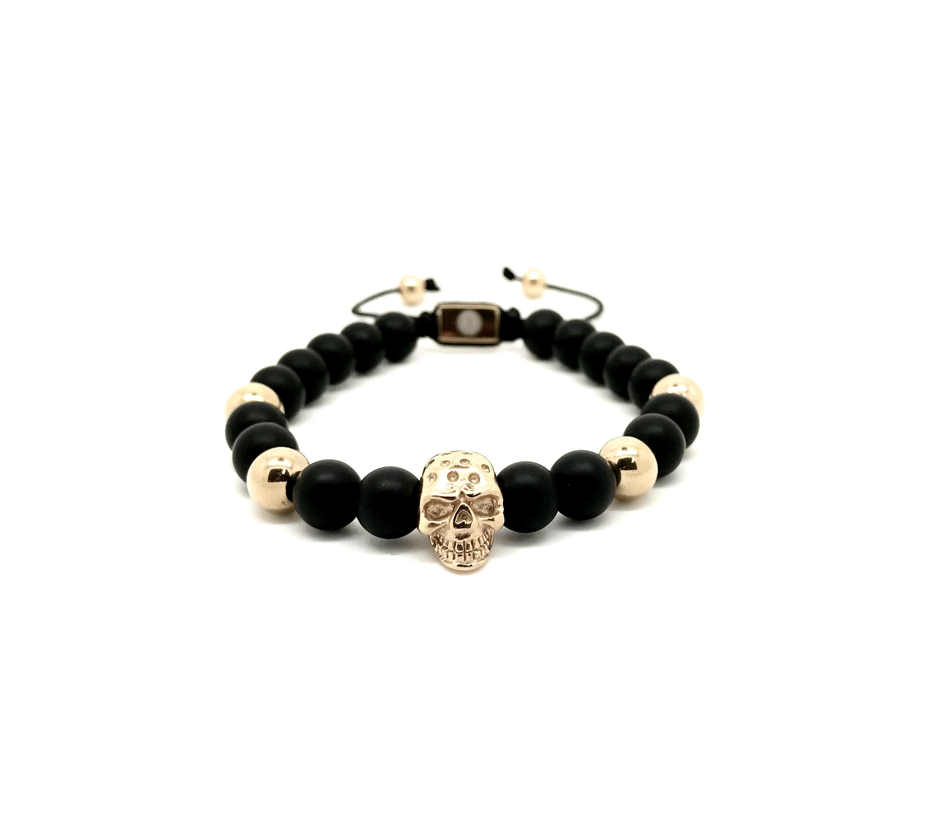 matte crystal gold gem onyx with plated black square bracelet ball products