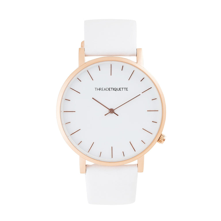 Minimalist – Matte Rose Gold / White Leather Timepiece