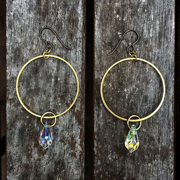 Raw Brass Baby Rainbow Hoops (15mm crystal)