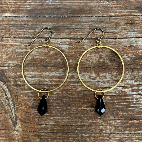 Black Crystal Hoops (15mm)