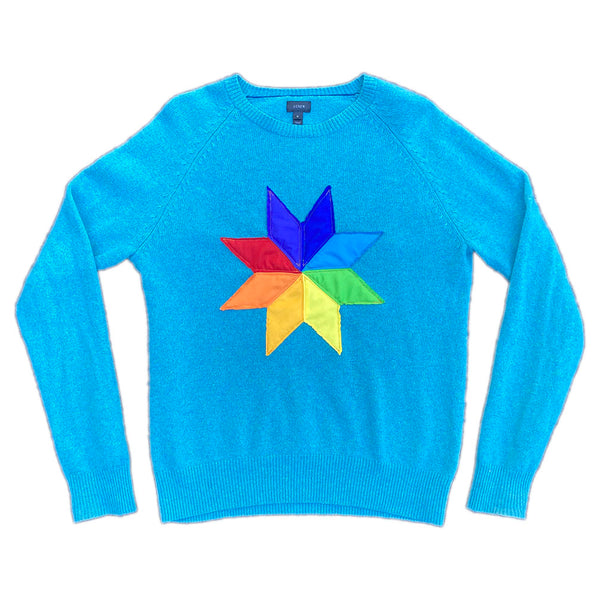 Quilt Star Up-cycled Sweater M