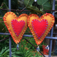Tequila Sunrise Crystal Hearts