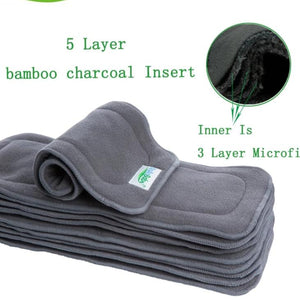 Reusable 5 Layer Bamboo Charcoal Diaper Insert