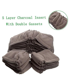 Bamboo Charcoal Inserts, Reusable 5 Layers Bamboo Charcoal Gusset Inserts Washable  Bamboo Inserts
