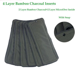 1 x Insert With Snap. 4 Layer Bamboo Charcoal Insert Nappy