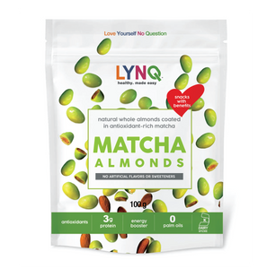 LYNQ matcha covered almonds- healthy snack