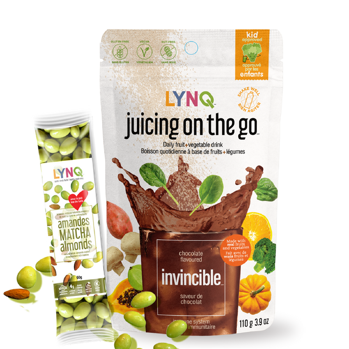 LYNQ. fruit and vegetable powder with matcha almonds for antioxydants