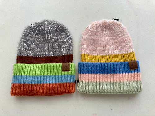 Stripe Chunky Knit Hat