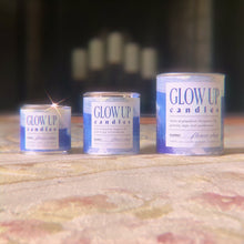 Load image into Gallery viewer, GLOW UP Flower Shop candle. Stylish and affordable candles with fresh seasonal scents. Original by Andrea Bisordi McLaughlin featured on every can. Offered in three sizes, 1/4 pint, 1/2 pint, and 1 pint.