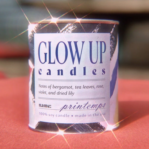 GLOW UP Printemps candle. Stylish and affordable candles with fresh seasonal scents. Original by Andrea Bisordi McLaughlin featured on every can.