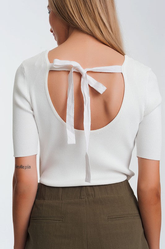 Lazo Bow Back White Top