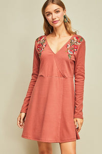 Marsala Knit Embroidered Dress