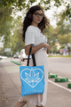 VEGETARIAN Tote Bag - LIGHT BLUE - Stoner Point