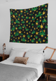 Indoor GOLD WEED & STARS Wall Tapestries - Stoner Point