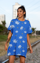 WEED & STARS blue white basic Dress Shirt - Stoner Point