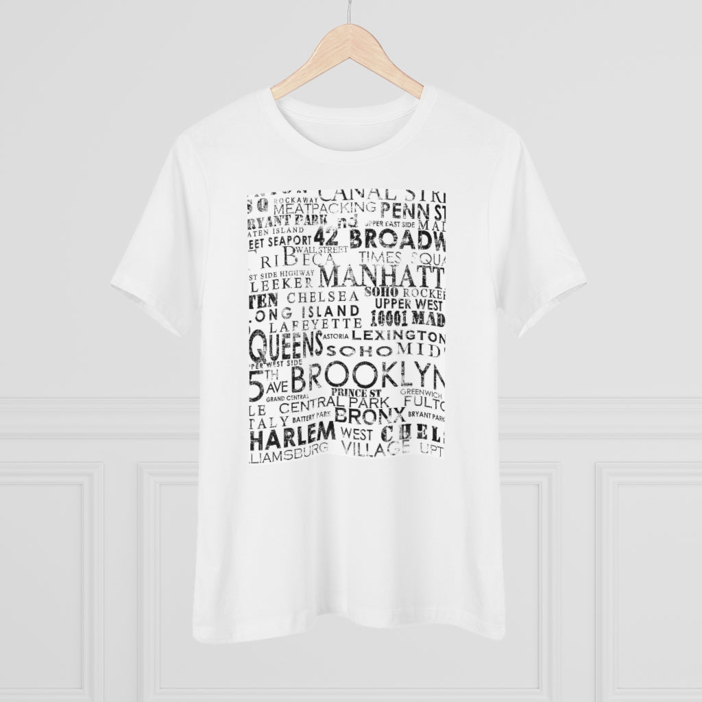 NY TYPO MAP© Women's Premium Tee - STUDIO ART STREET