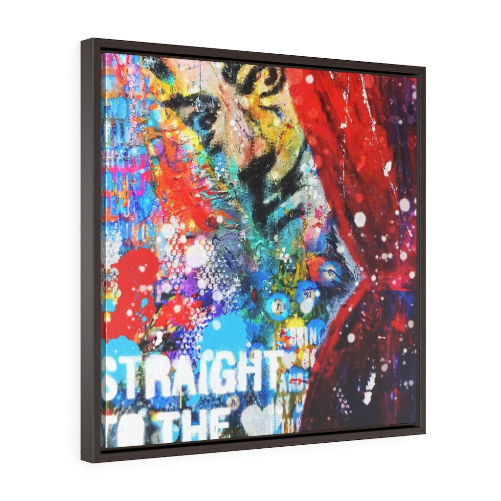 STRAIGHT TO THE LOVE - Square Framed Premium Gallery Wrap Canvas