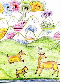ICT Greeting Card - Three Deer, Hills and Mountains