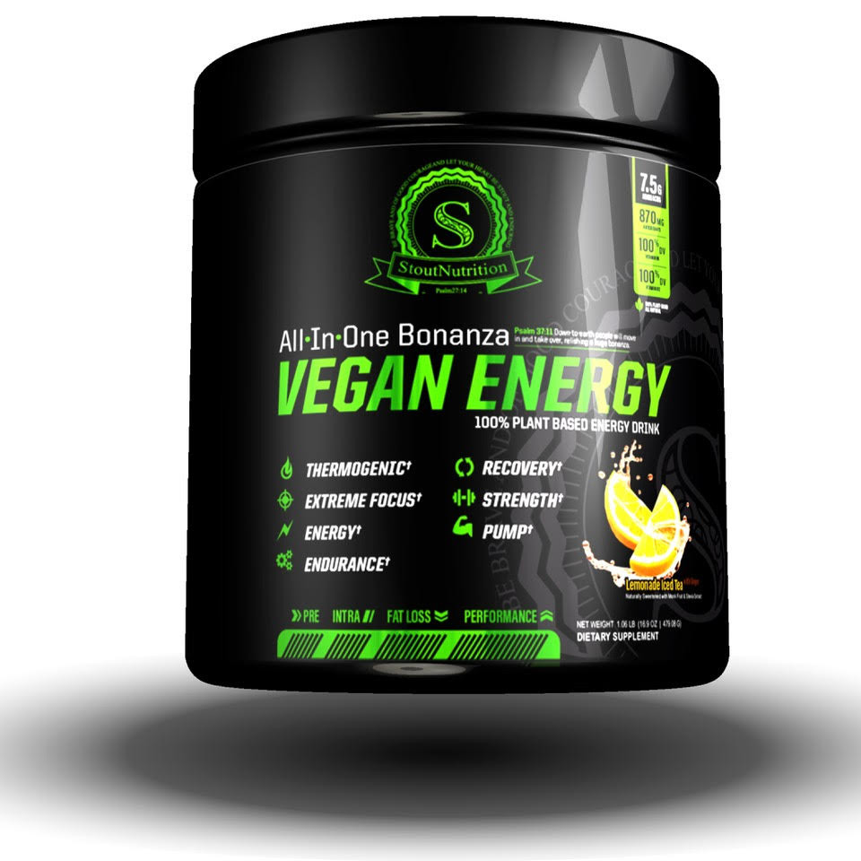 Vegan Energy All-In-One Ginger Lemon Tea Plant Powered Energy Drink by Stout Nutrition