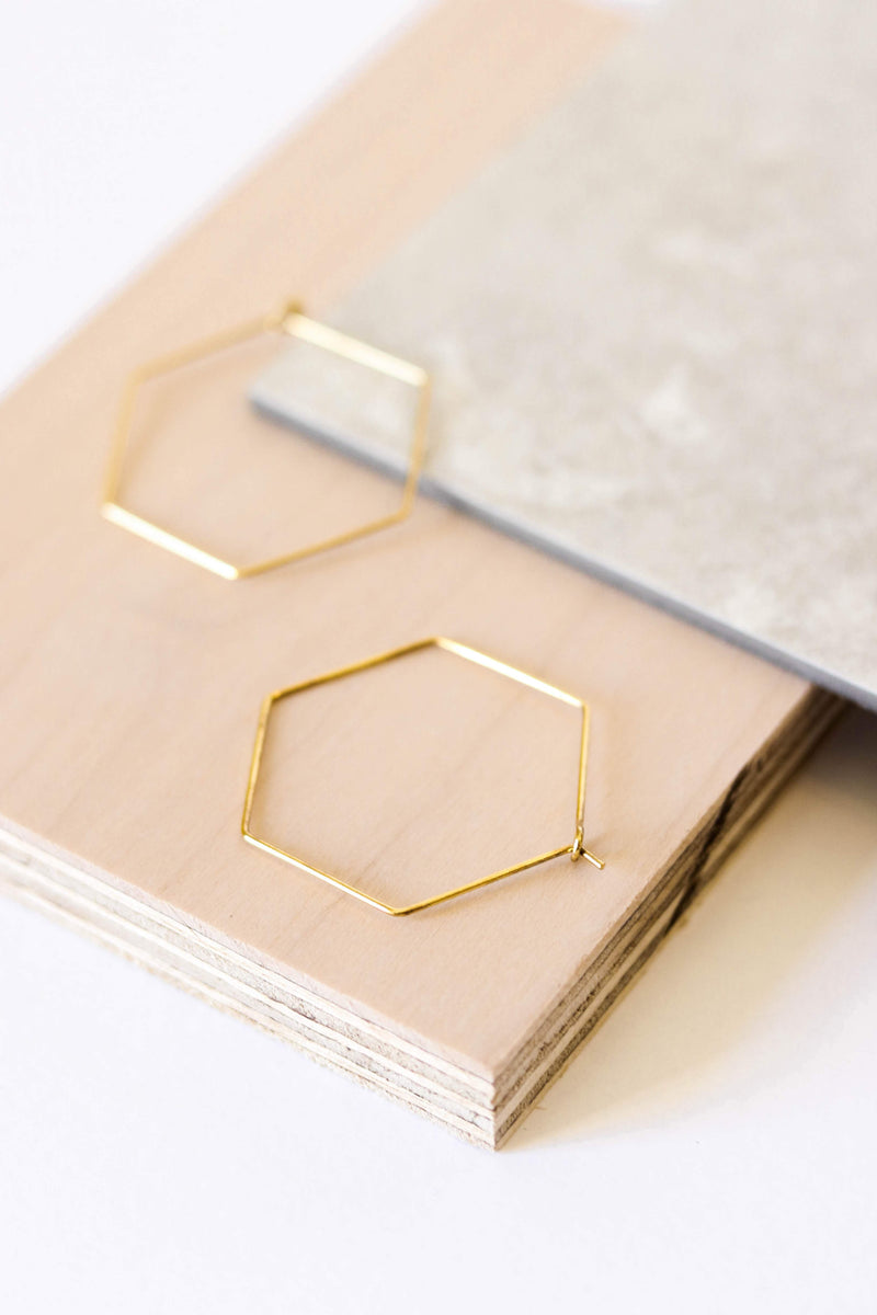 Hexagon Hoop Outline Earring