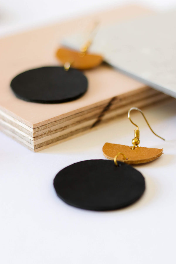 Colorblock Leather Earrings- Black and Cognac