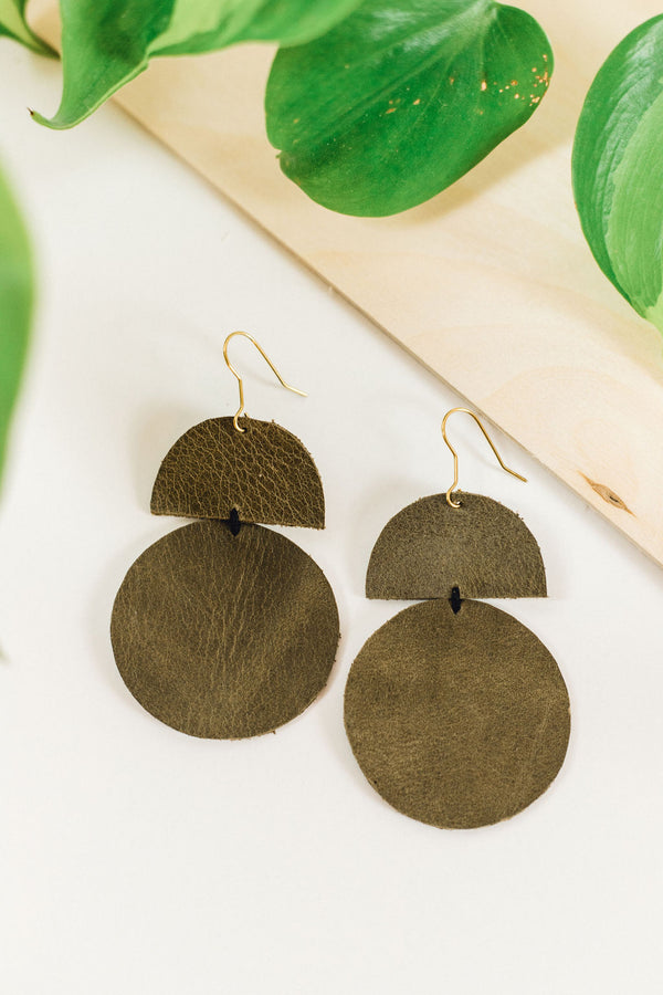 Geometric Leather Statement Earrings