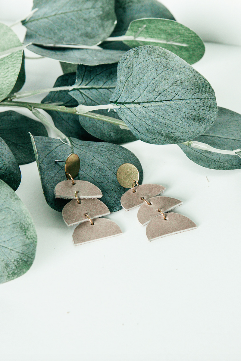 Modern Leather Semi-circle Earring