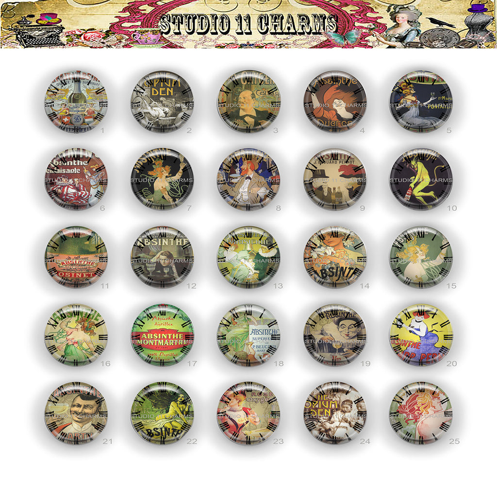 Buttons Badge Round, Pin Backs, Magnets, Flat Backs Cameo. Absinthe 1 Clock