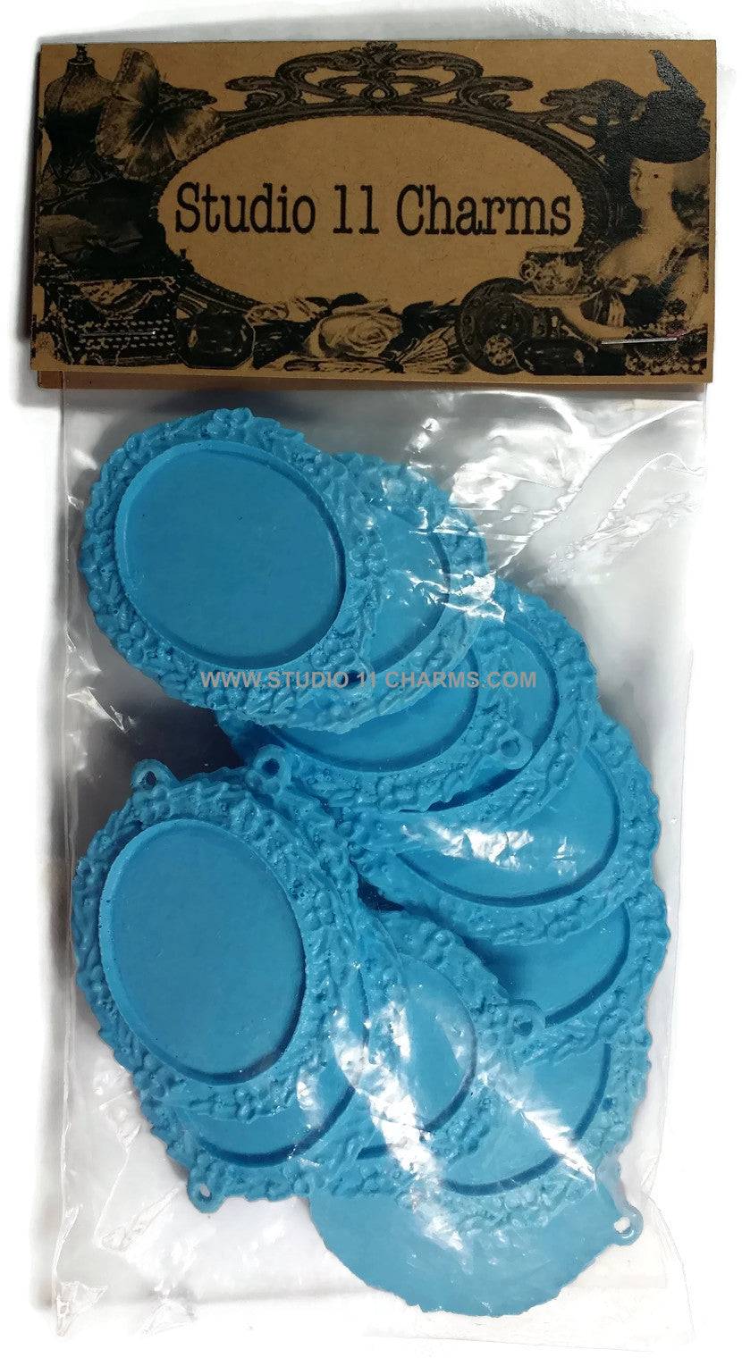 12 Resin Frame Setting Bezel Victorian Style fit 40x30 cameo BLUE 10.1