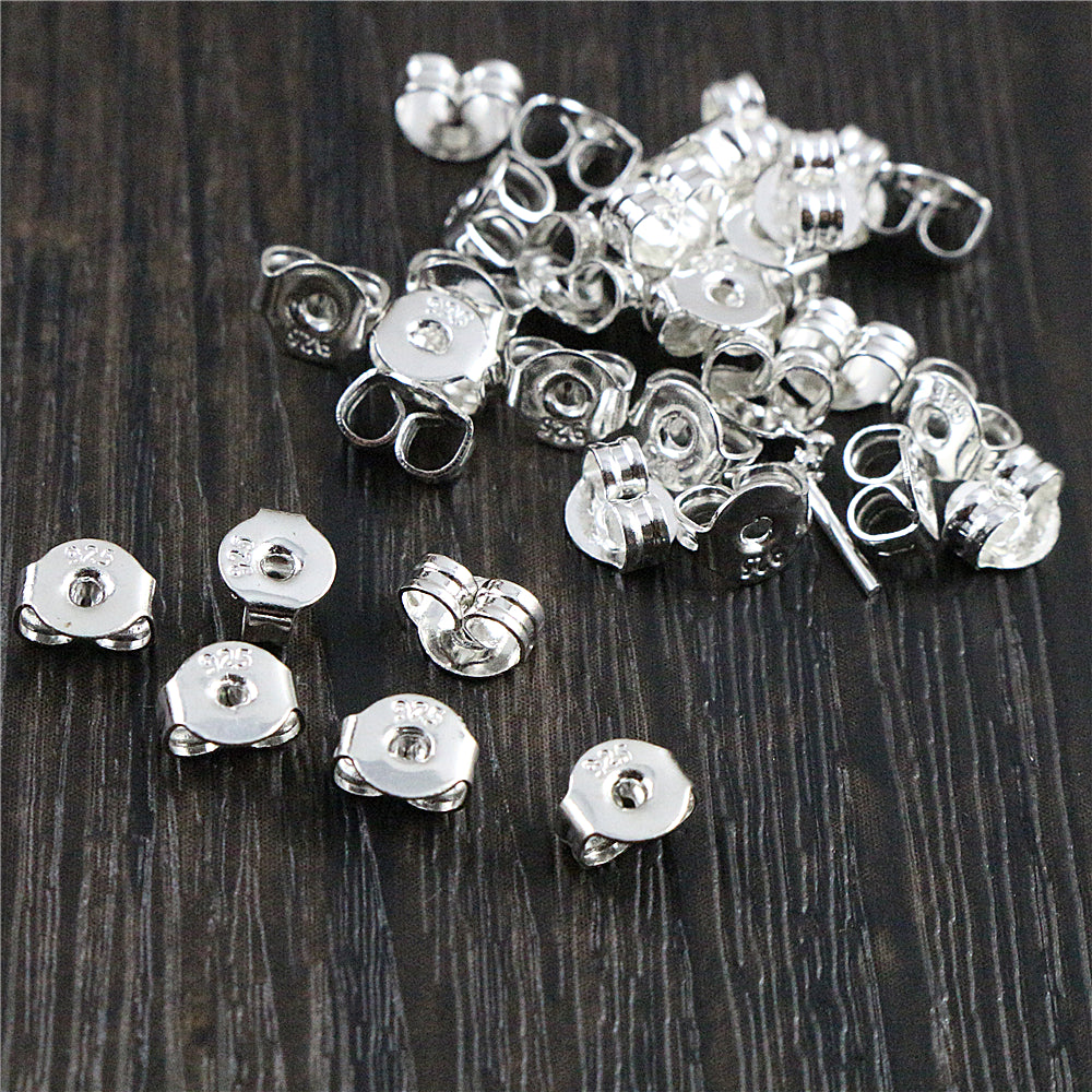 100 Pieces High Quality Silver Plated Copper Earring Back Plug Earring Settings Base Ear Back Studs