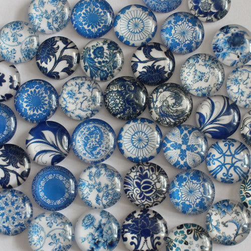 10mm Blue and White Porcelain Round Glass Cabochon Jewelry Finding Cameo Pendant Settings