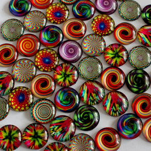 10mm Round Glass Cabochon Mixed Kaleidoscope Style Dome Jewelry Finding Cameo Pendant Settings