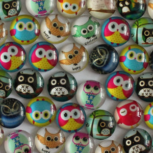 10mm Round Glass Cabochon Mixed Owl Design Cartoon Style Dome Jewelry Finding Cameo Pendant Settings