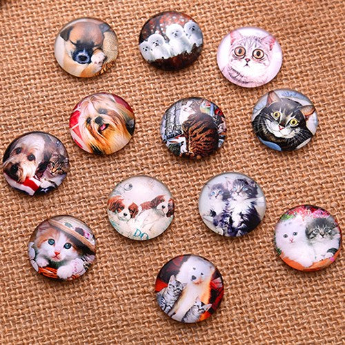 10mm Round Glass Cabochon Mixed Pet Pictures Style Dome Jewelry Finding Cameo Pendant Settings