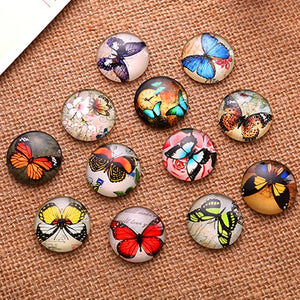 10mm Butterfly Round Glass Cabochon Jewelry Finding Cameo Pendant Settings