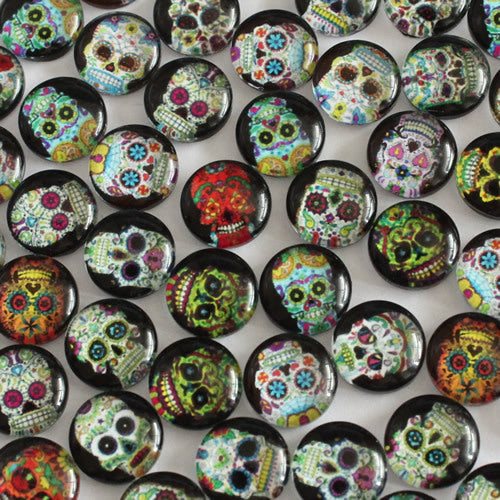 10mm Skull Candy Round Glass Cabochon Jewelry Finding Cameo Pendant Settings