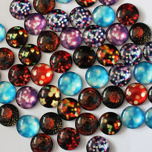 10mm Round Glass Cabochon Mixed Bokeh Lights Pictures Dome Jewelry Finding Cameo Pendant Settings