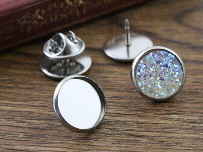 12mm Inner Size Stainless Steel Material Brooch Style Fit Base Blank Cuff Link Spacer Settings Tie Tack Pins