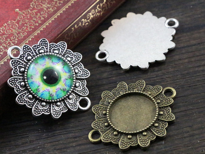16mm Inner Size Antique Bronze And Silver Flower Connection Style Base Setting Charms Pendant