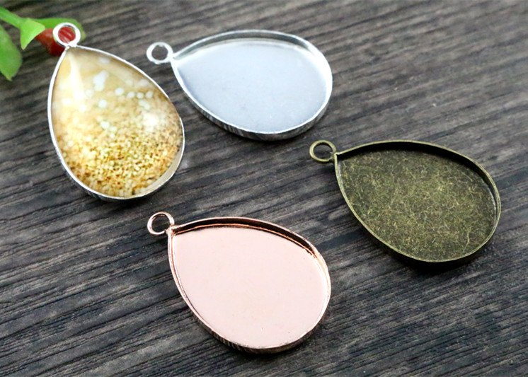 18x25mm High Quality 3 Colors Plated Copper Drop Style Tooth Base Settings