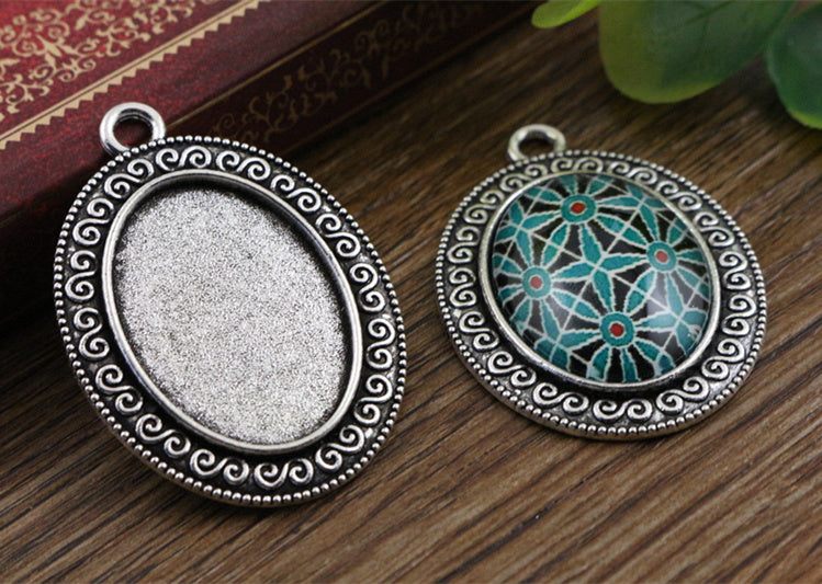 18x25mm Inner Size Antique Silver And Bronze Flowers Style Cameo Cabochon Base Setting Charms Pendant Necklace Findings