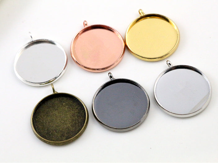 20mm Inner Size 6 Colors Plated Classic Style Brass Metal Base Setting Charms Pendant Tray