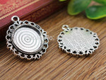 20mm Inner Size Antique Silver And Bronze Colors Pattern Style Base Setting Charms Pendant