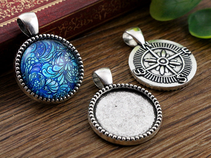 20mm Inner Size Antique Silver And Bronze Compass Style Base Setting Charms Pendant
